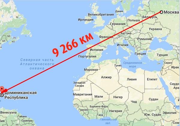 Расстояние Москва Пунта-Кана на карте