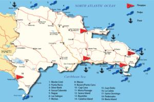 Карта лучших мест для дайвинга в Доминикане
